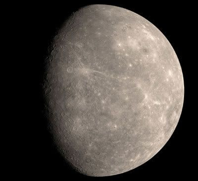 An image of Mercury taken by NASA's MESSENGER spacecraft, which flew past the innermost planet on January 14 of this year.