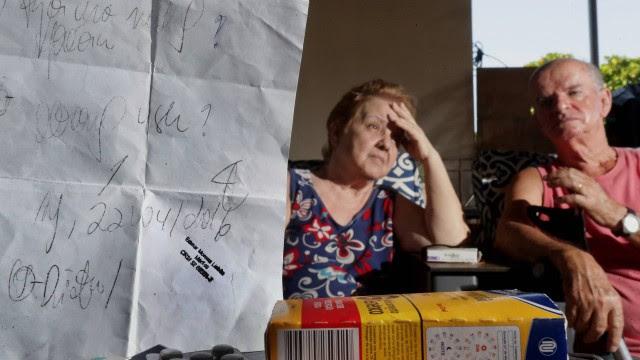 A dona de casa Glória Maria Loureiro Ribeiro, acompanhada do marido Wilson, está com suspeita de dengue e foi ao Hospital Getúlio Vargas, mas o médico que a atendeu prescreveu medicamentos que é impossível de entender