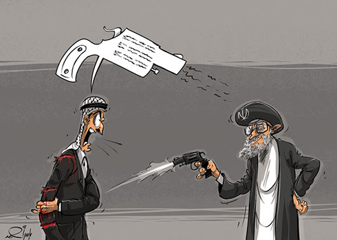 Arab cartoon: Iran is hitting the great Arab force, which is doing nothing, without batting an eyelid