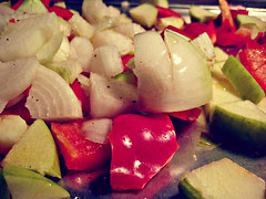 veggies, chopped and ready to roast
