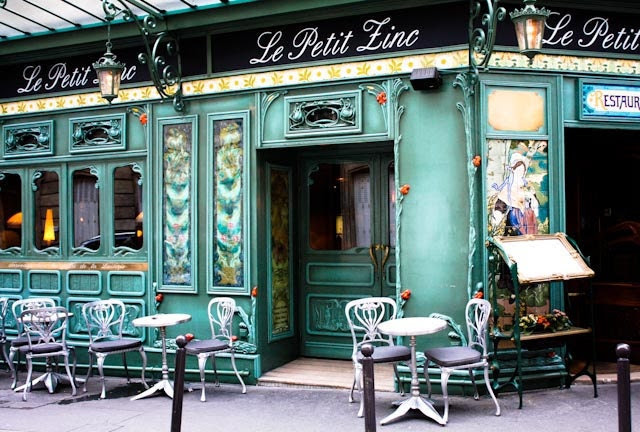 le petit zinc - 8x10 Fine Art Photograph - Paris Photography - Paris cafe in green - Restaurant Paris - Paris Home Decor