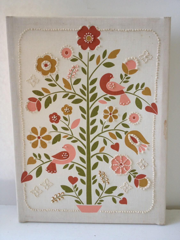 Vintage Crewel/Embroidery - Tree & Bird Art