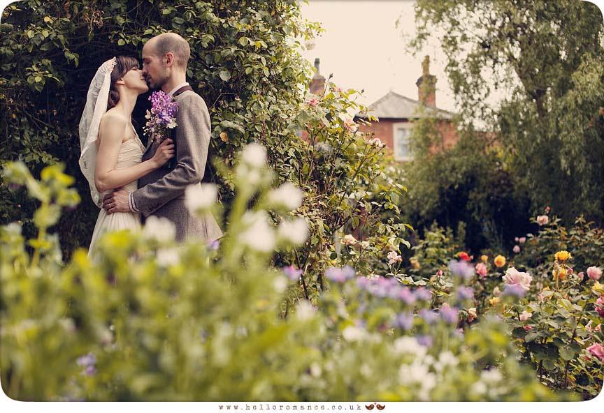 Bride Groom Kiss Alternative Wedding Photography Suffolk