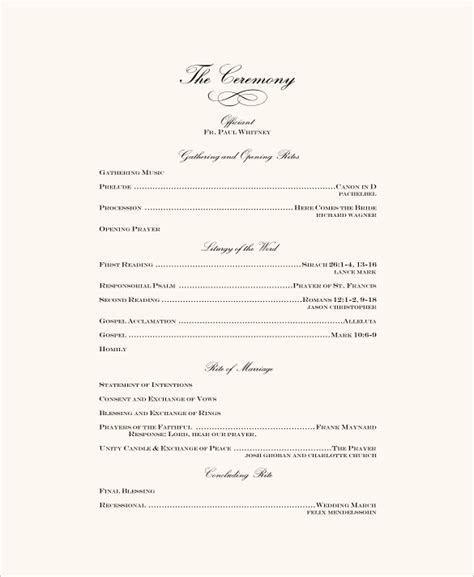 Wedding Ceremony Program Template ? 31  Word, PDF, PSD