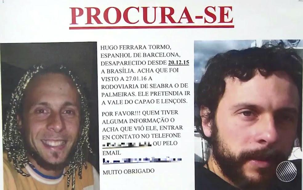 Família chegou a divulgar cartazes, prcurando o espanhol (Foto: Reprodução/TV Bahia)