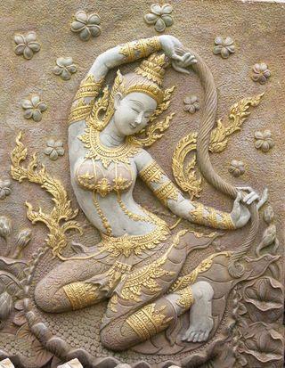 Phra Mae Thorani (Thai: พระแม่ธรณี) Thai Mother Earth Goddess