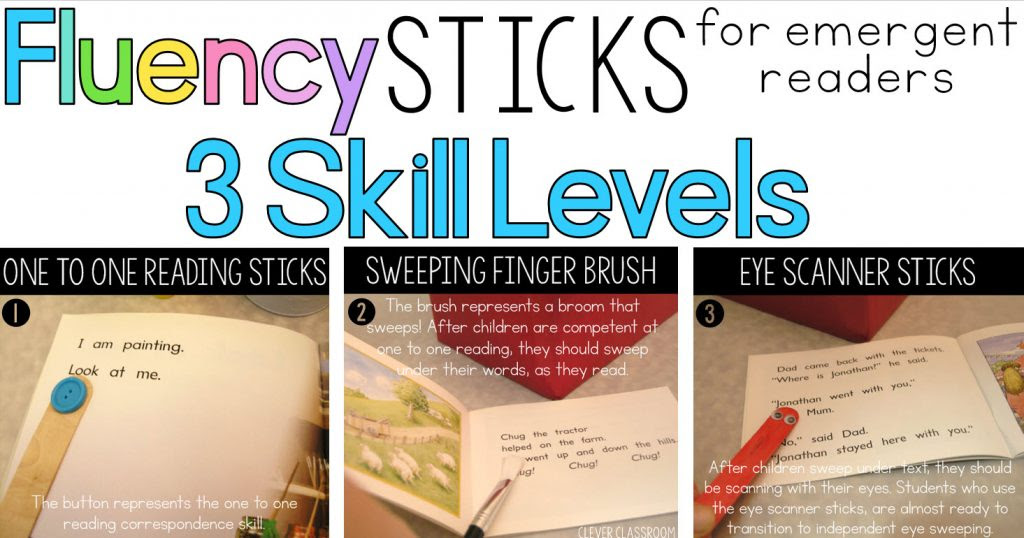 guided reading fluency sticks 3 levels for Kindergarten and first graders