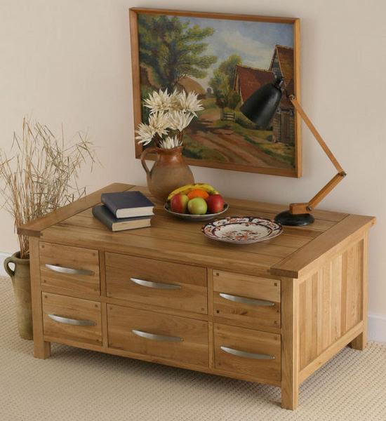Newark Solid Oak 6 drawer Coffee Table