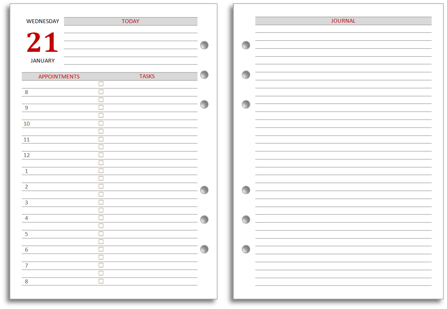 2 page daily planner printable