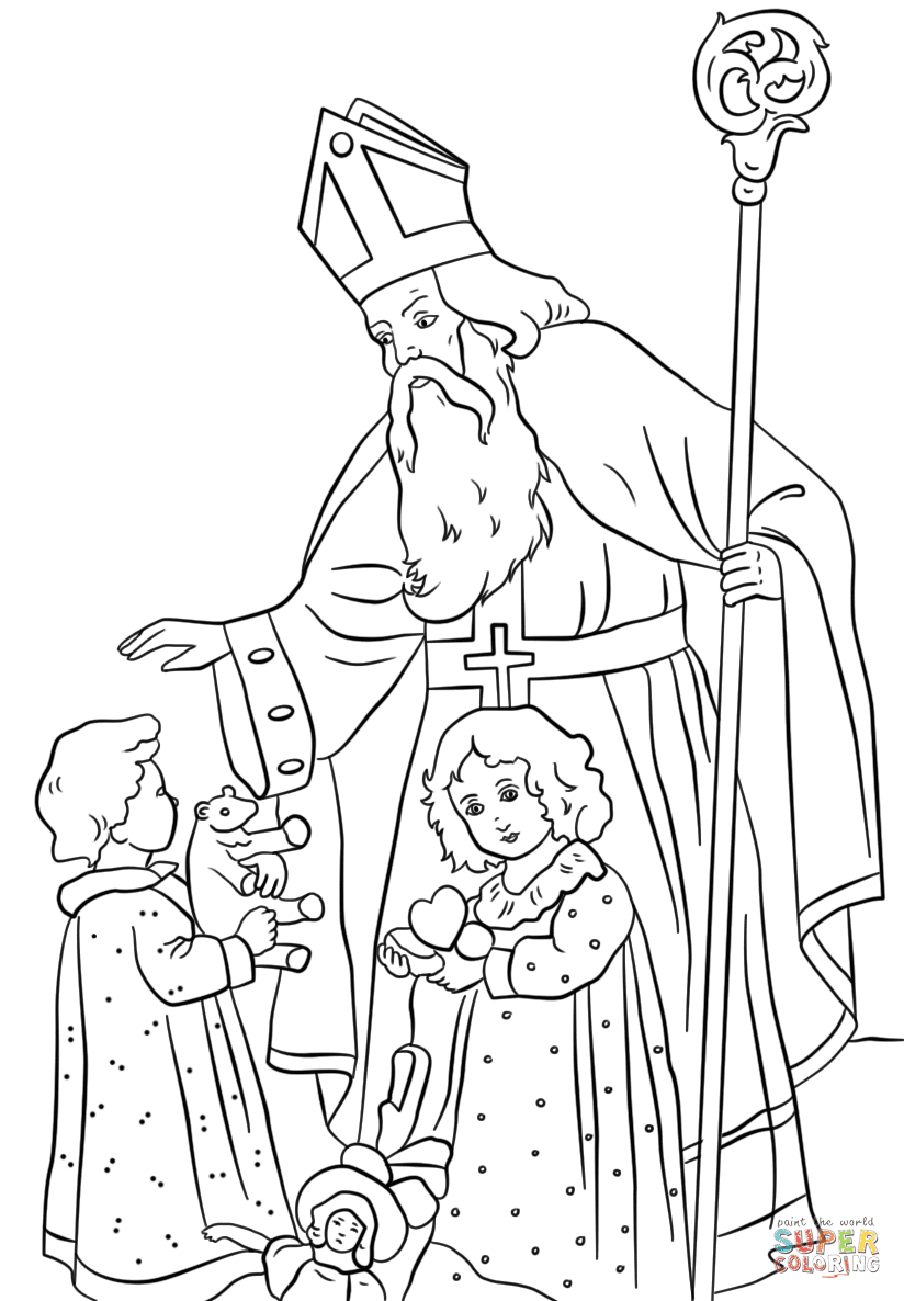 St. Nicholas Greets Children coloring page Free Printable Coloring Pages