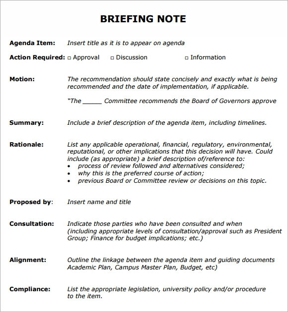 meeting briefing note template