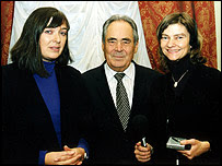 Bridget Kendall, President Shaimiev and series producer Teresa Cherfas (image courtesy of president's press office)