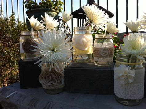 RUSTIC WEDDING DECOR. 15 Bulk Burlap Lace Mason Jars for