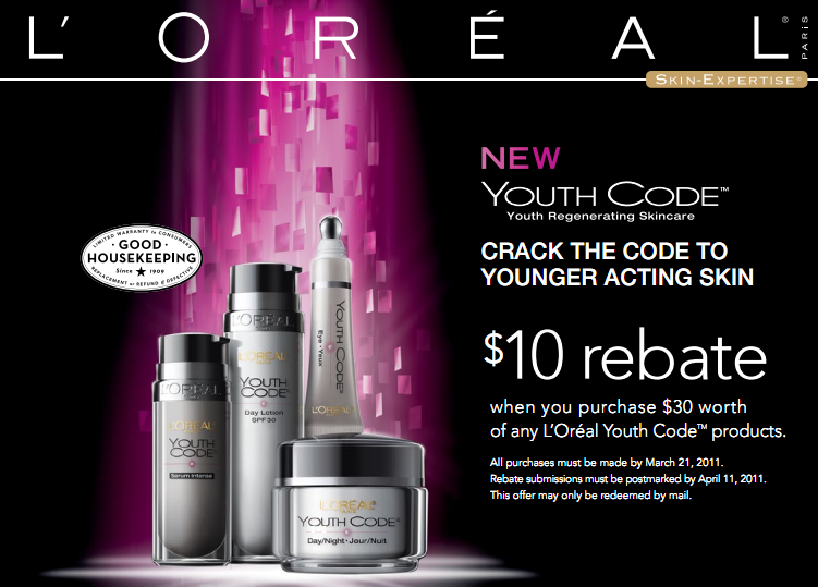 loreal rebate LOreal Youth Code $10 Mail in Rebate & Deal Idea!