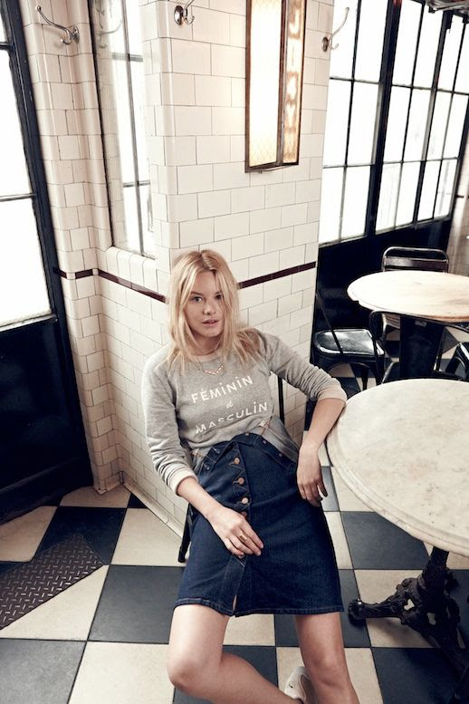 Le Fashion Blog Madewell Sezane Lookbook Camille Rowe Graphic Sweatshirt Feminin Et Masculine Denim Overall Dress