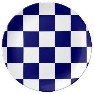Checkered Navy and White Porcelain Plate