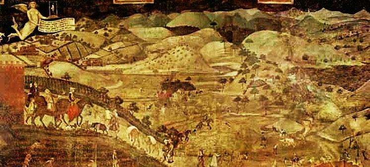 Ambrogio Lorenzetti, Auswirkung der guten Regierung auf dem Land, 1338-1340, Fresko, Siena,Palazzo Pubblico