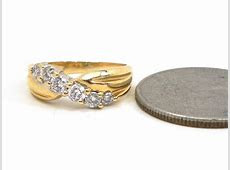 Ladies 14k Yellow Gold Slanted Diamonds Wedding Band   Bright Jewelers   Bright Jewelers