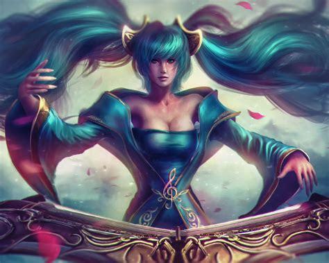 league  legends champion sona girls blue hair maven