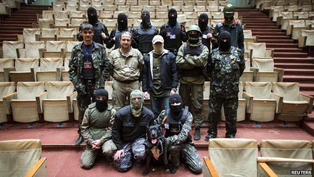 Pro-Russian militiaman in Donetsk, 30 April