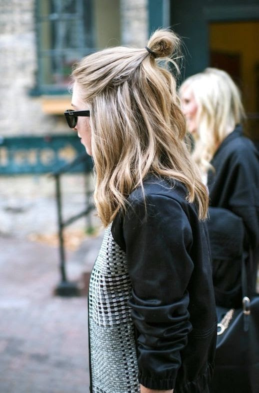 7 Le Fashion Blog 20 Inspiring Half Up Top Knot Hairstyles Blonde Wavy Hair Bun Via Zipped