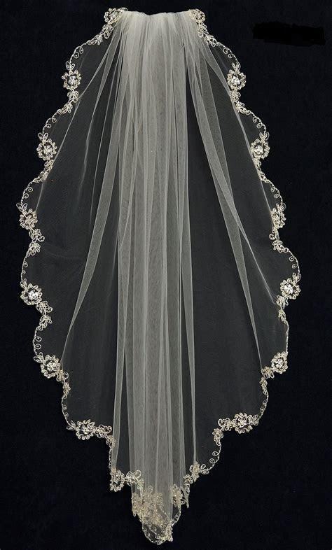 Beaded Floral Embroidery Fingertip Length Wedding Veil