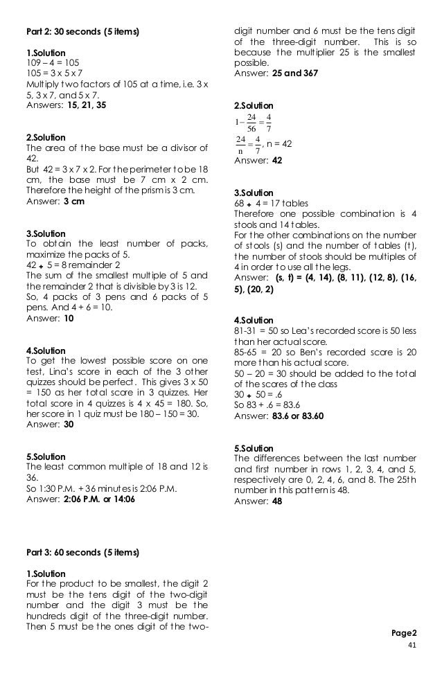 Nat Reviewer For Grade 6 Math With Answer Key Philippines ...