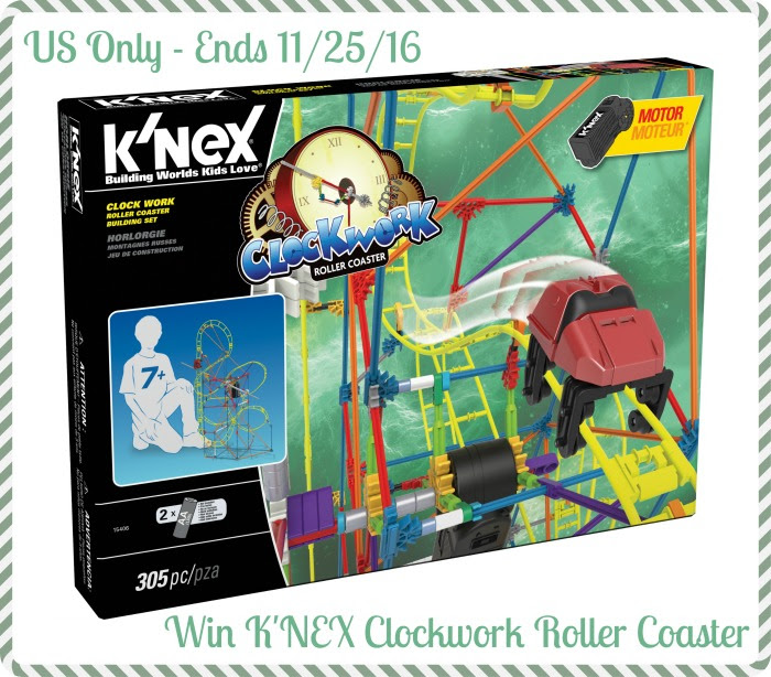Enter the K'NEX Clockwork Roller Coaster Giveaway. Ends 11/25