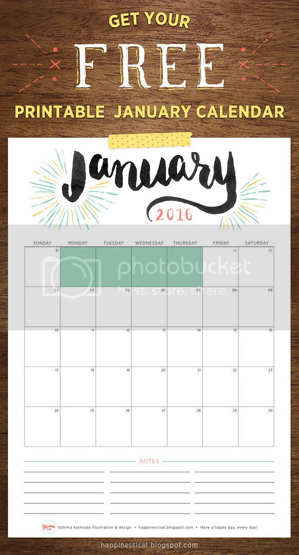 Happiness is... January 2016 Free Printable Calendar