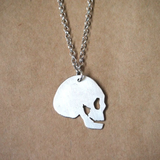"Sterling Silver ""Alpha"" Skull Necklace"