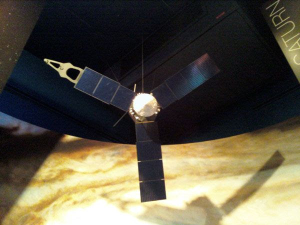 A model of NASA's Juno spacecraft...which will launch to Jupiter this August.