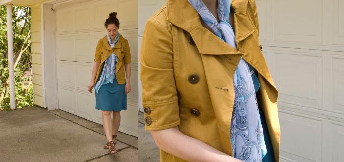 brooklyn industries mustard jacket blue banana republic gladiator spring style bun dash dot dotty fashion style blog