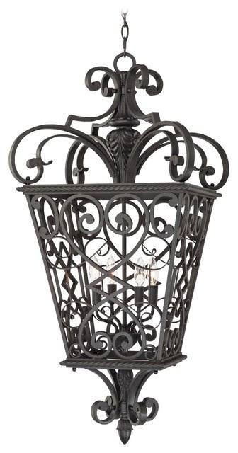 Rustic - Lodge French Quarter Marcado Black Four Light Hanging