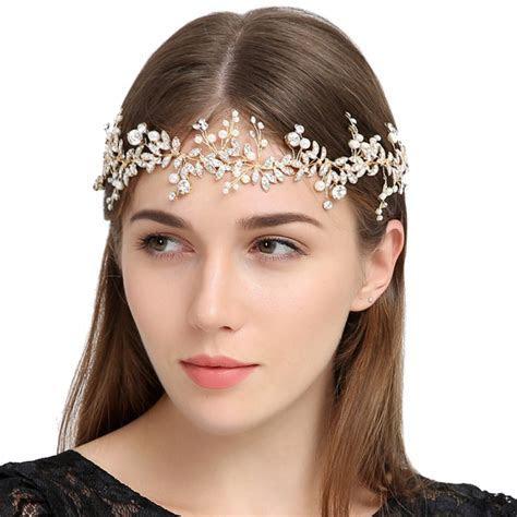 Wedding Head Band Bridal Hair Accessory Headpieces Gold