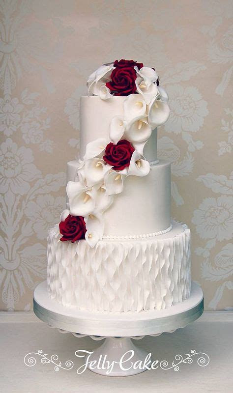 Calla Lily and Rose Wedding Cake   cakes   Pinterest