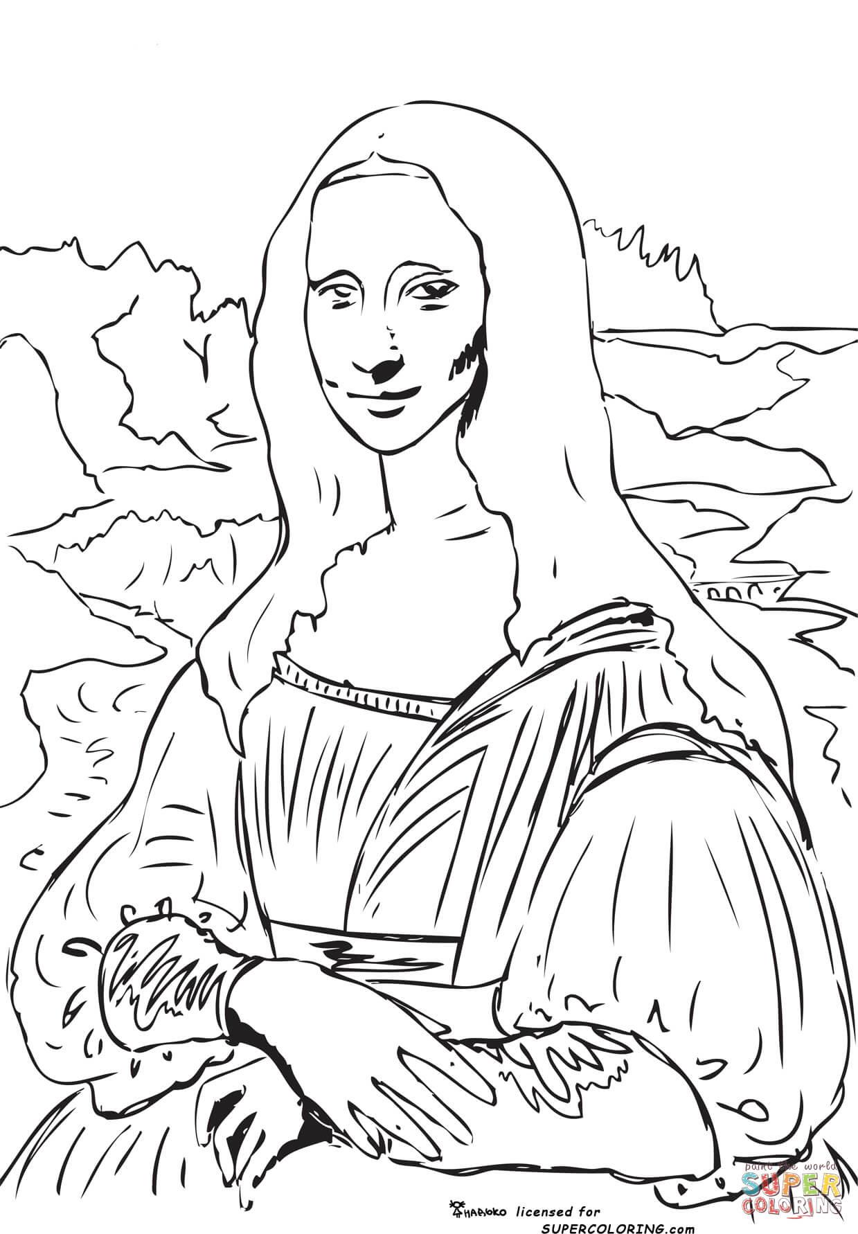 Coloriage La Joconde Par Léonard De Vinci Coloriages à Imprimer
