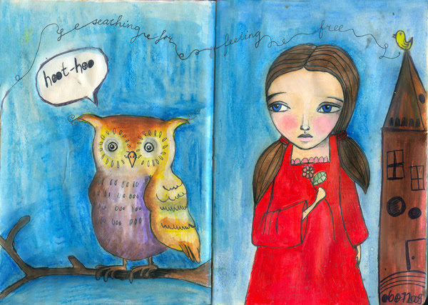 art journal july - hoot hoo