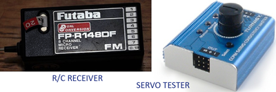 rc receiver & servo tester used by the author
