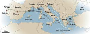 InterRail mapa da Europa.