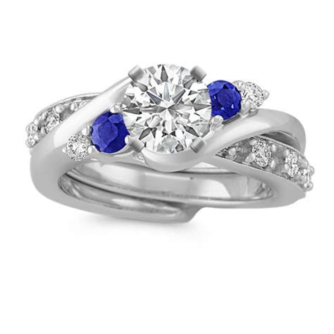 Swirl Round Sapphire and Diamond Wedding Set   Shane Co.