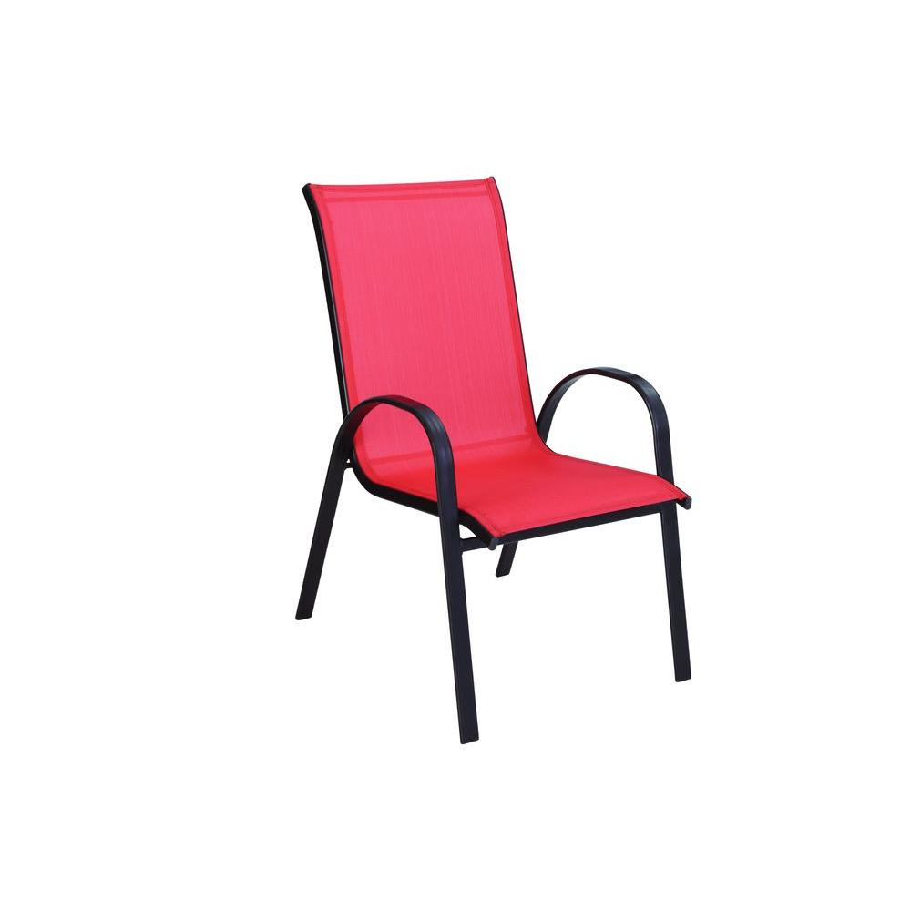 Hampton Bay Navona Red Sling Patio Chair-FCS00015J-RED ...