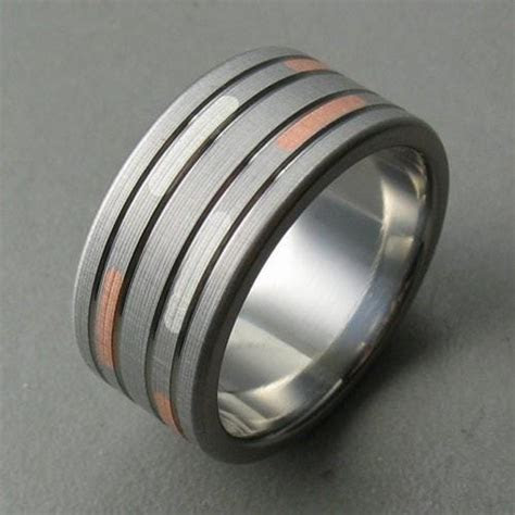 Dashed Titanium Rose Silver Men's Wedding Ring   Spexton