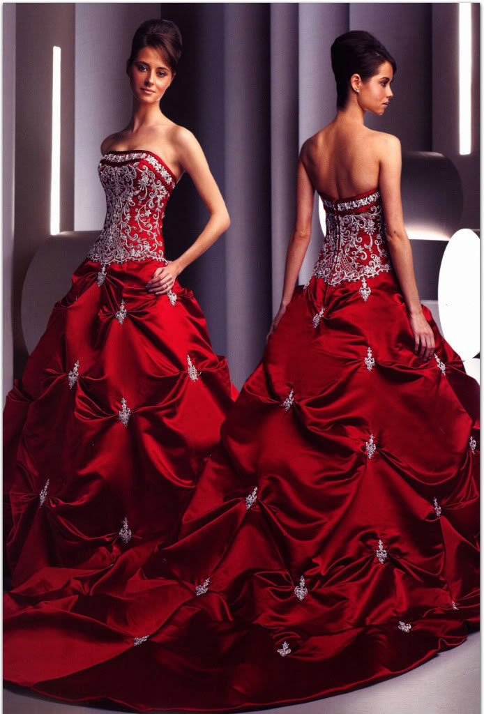 It is a red wedding dress This red wedding dresses was made with high