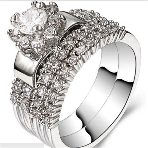 2019 Size 5 11 Rhodium Wedding Ring Engagement Halo