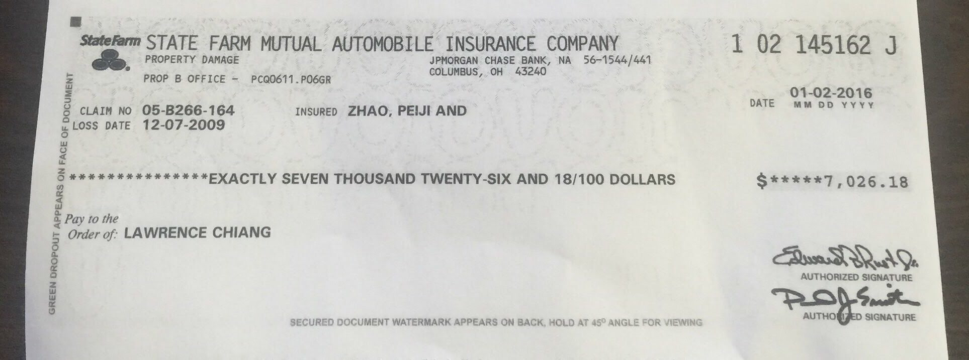 Check cleared! Re 12/07/2009 accident. Paid January 3, 2016