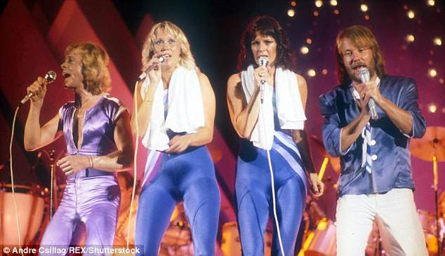 Glory days: Benny Andersson, Agnetha Faltskog, Anni-Frid Lyngstad and Bjorn Ulvaeus during the opening night of Abba's first North American tour in Edmonton, Canada in 1979