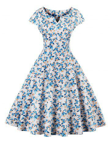 Retro Butterfly Pattern Skater Dress - WHITE 4XL