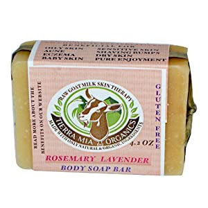 Tierra Mia Organics, Raw Goat Milk Skin Therapy, Body Soap Bar, Rosemary Lavender, 4.2 oz