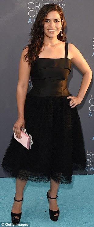 Women in black: (L-R) America Ferrera, Emmy Rossum and Jennifer Jason Leigh went for classic looks in little black dresses