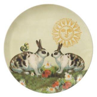 Vintage Easter Bunnies Plate
